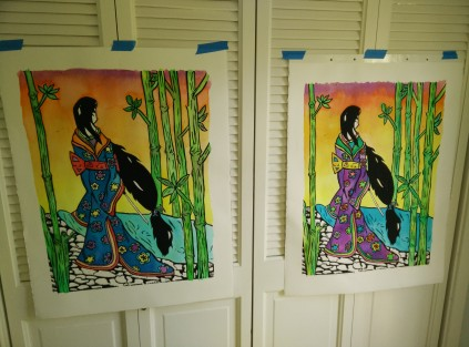 Two prints of my latest Geisha watercolored